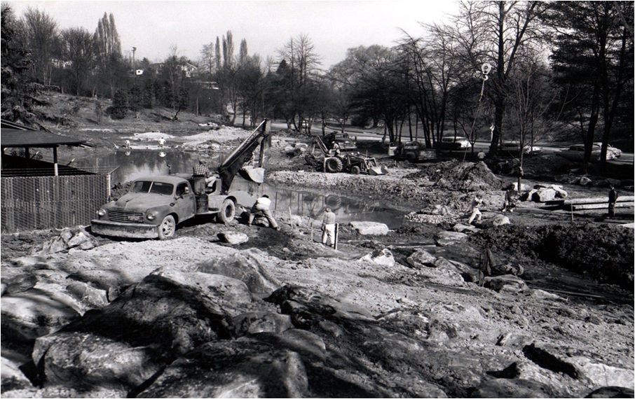 During the construction of Seattle Japanese Garden.