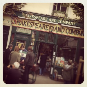 Outside Shakespeare and Co Bookstore
