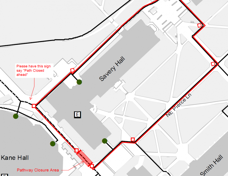 Savery Hall and Smith Hall ADA detour plan in effect February 8, 2019