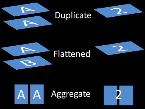 Duplicate, Flattened, Aggregated Spatial Processing Examples