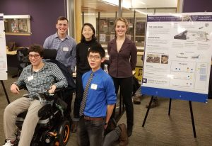 Team DISplay at the 2017 design review presenting their poster and prototype of an interactive game board for diverse abilities.