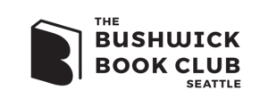 """Vector outline drawing of a book, with the shape of the letter 'B' for the cover. Black text to the right reads, """"The Bushwick Book Club; Seattle"""""""