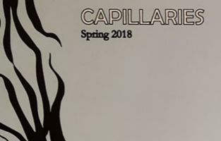 """White background with an graphic, black tendril-like shape crossing over the left side. Black and white outlined text reads """"Capillaries."""" Black text below that reads """"Spring 2018"""""""