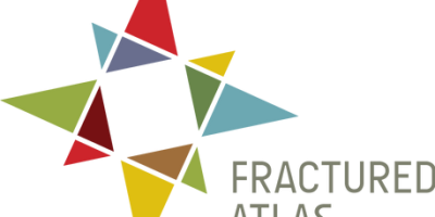 """Abstracted compass design comprised of multi-colored triangles to the left of charcoal grey text that reads """"Fractures Atlas"""""""