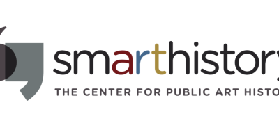 """Logo featuring two abstracted quotation marks to the left of sans serif text that reads, """"smarthistory."""" The """"art"""" text is red, blue, and yellow. Text below reads """"The Center for Public Art History."""""""