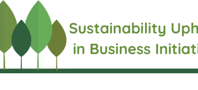 """Abstract illustration of tree shapes in varying shades of green, with the text """"Sustainability Upheld in Business Initiative"""" to the right of the trees."""