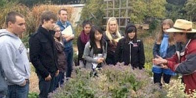 Group of ten people gather around a plant specimen in a harden setting. One person is giving a talk or lecture.