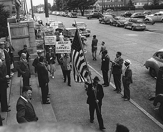 antiwar history cold war protesters outside the canwell committee hearings in seattle c 1948 signs abolish the canwell committee and your university is under attack from