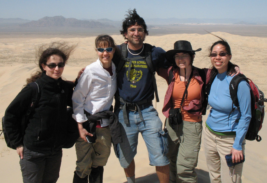 Graduate students Eva Stueeken, Michele Cash (PhD, '12), Sanjoy Som (PhD, '10), Regina Carns, and Rika Anderson atop the Kelso Sand Dunes in the Mojave Desert during an astrobiology field workshop.
