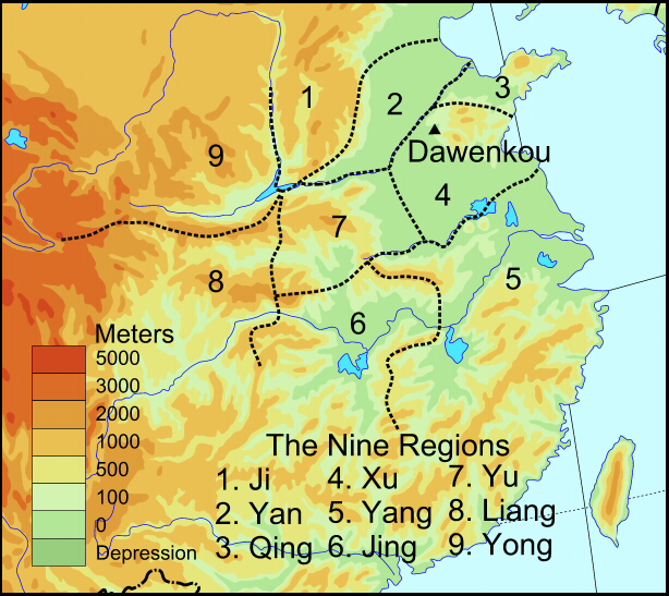 Regions Of China Map.Nine Neolithic Regions