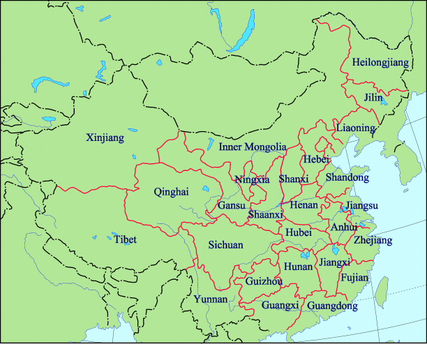 Regions Of China Map.Land