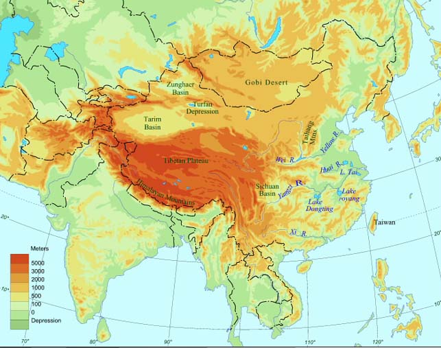Topographic Map Of China Land