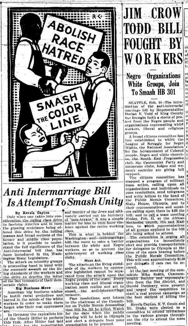 Blocking Racial Intermarriage Laws in 1935 and 1937: Seattle's First ...