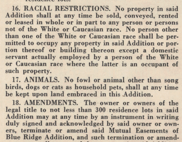 racial restrictive covenants  enforcing neighborhood