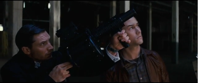 Screenshot from Inception featuring Tom Hardy and Joseph Gordon-Levitt
