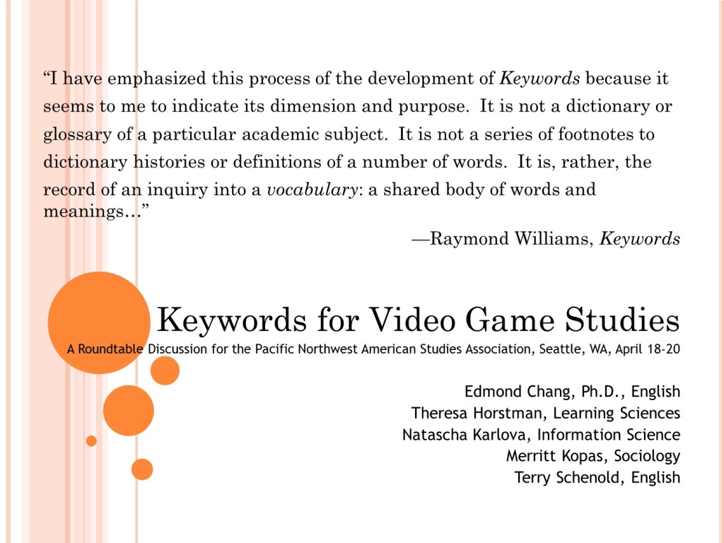 keywords for video game studies critical gaming project keywordspnasaroundtable