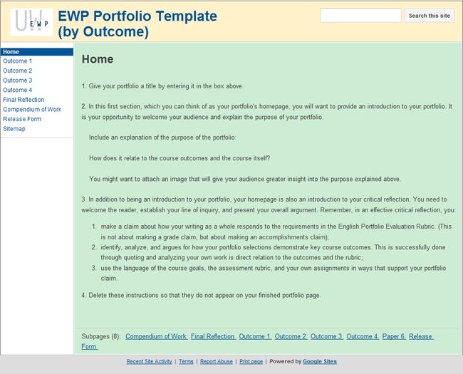 UW CIC Faculty Guide Online EPortfolio - E portfolio templates