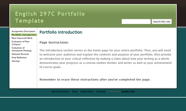 portfolio assignment example
