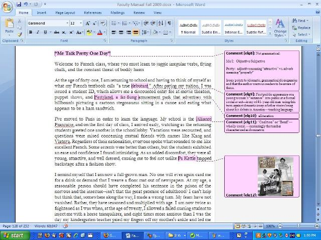 "uw cic faculty guide online using microsoft word here is one annotated edition from listening to the sedaris reading of the first half of his essay ""me talk pretty one day"" from the book on disk"