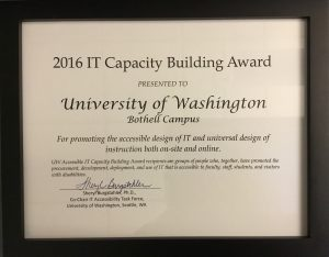 Capacity Building Institute Award given to UW Bothell June 2016