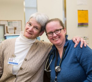 Dr. Judy Pauwels (L) and student at the UW Neighborhood Northgate Clinic