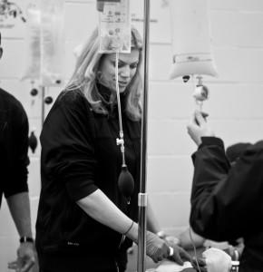 Dr. Kim Harmon treating an athlete.