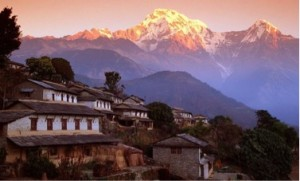 The town of Dhulikehl, Nepal, site of the Dhulikehl Heart Study, in the foothills of the Himalayan Mountains