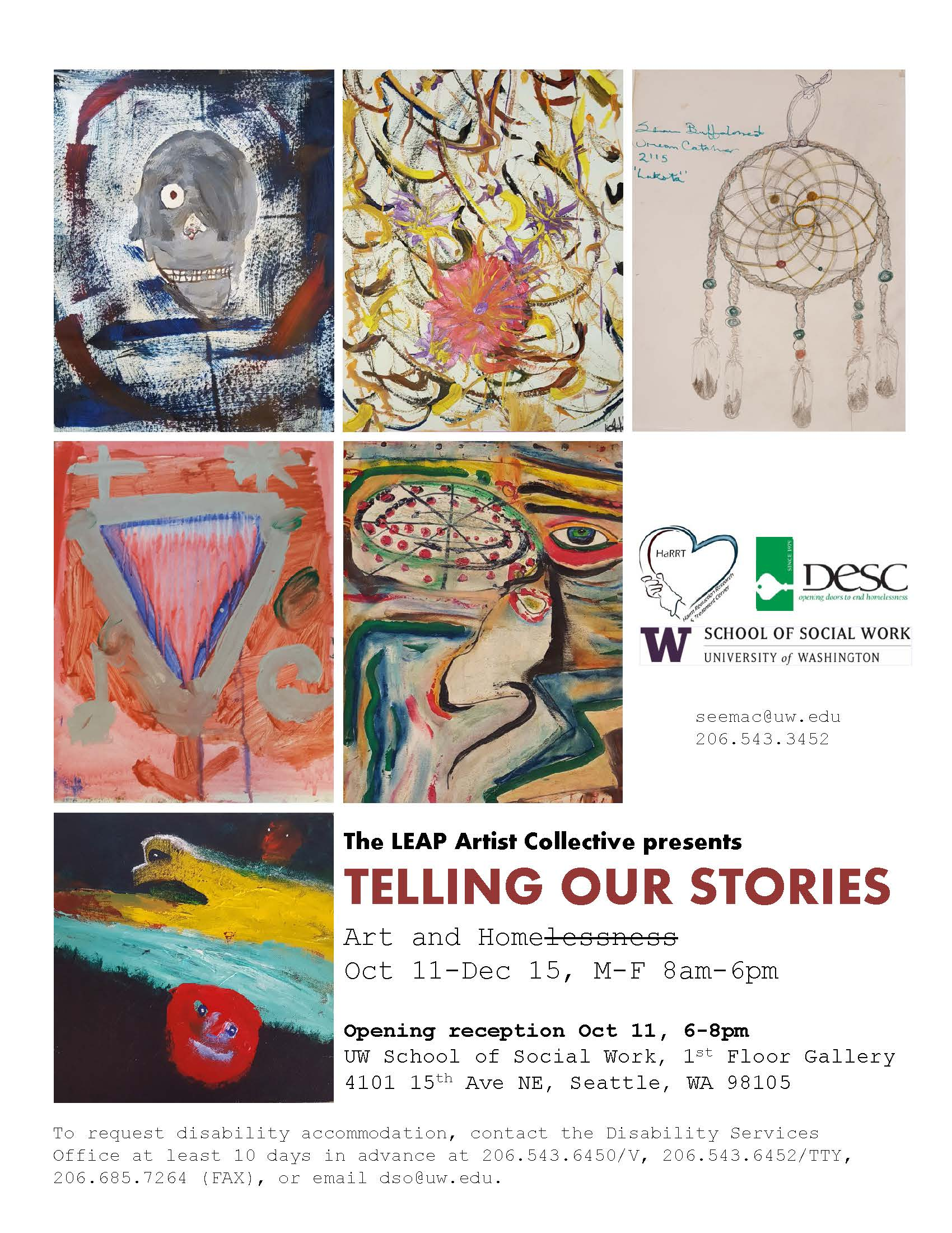 The Telling Our Stories exhibit is open to the public 10/11