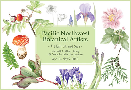 Pacific Northwest Botanical Artists 2018 poster by Joan Provo-Clinkston