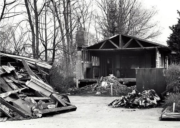 rubble after 1968 clubhouse fire at the Arboretum