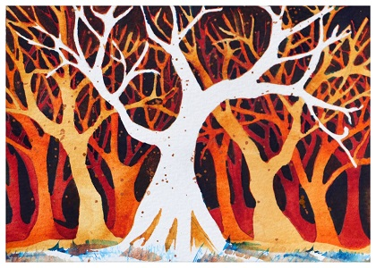 abstract grove of trees with a white tree in the middle