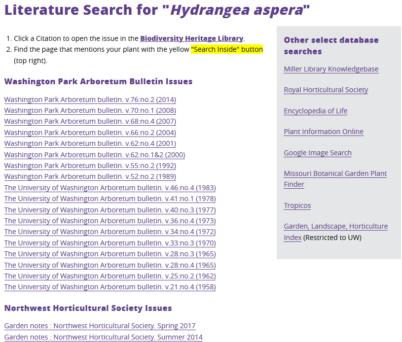 screenshot of search results
