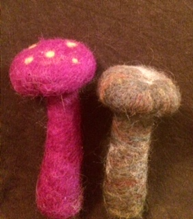 Two felted mushrooms by Kaylin Francis