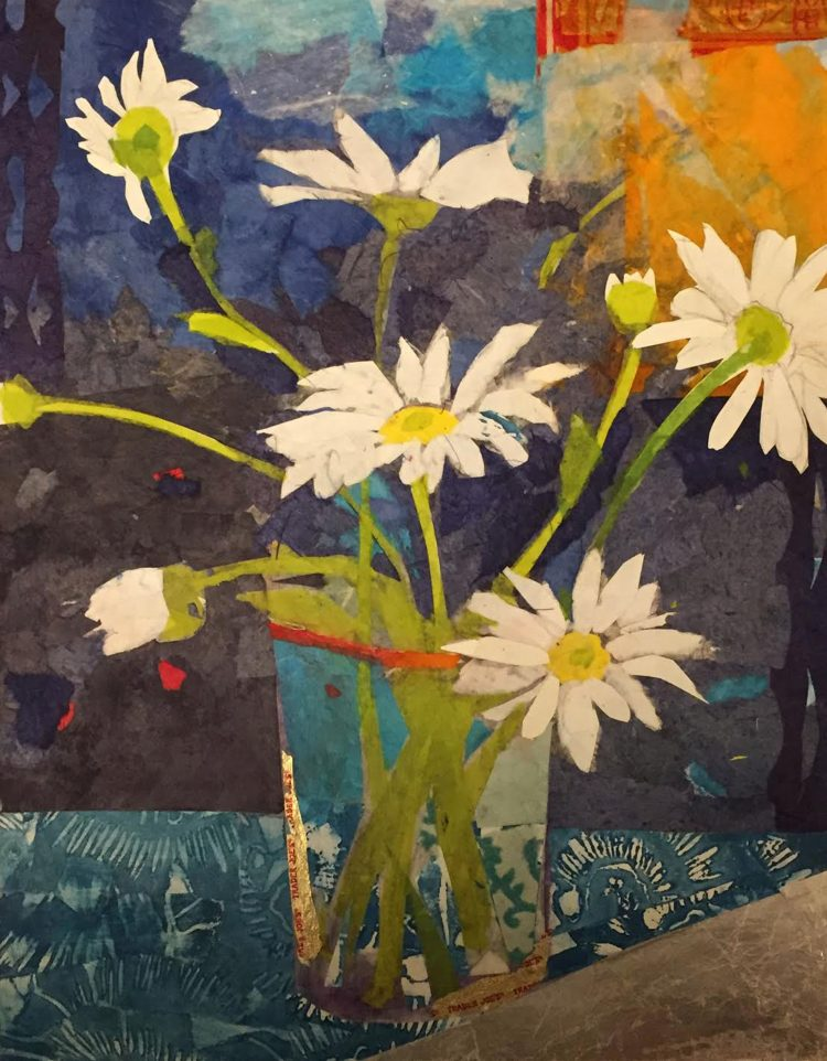 collage of daisies in vase