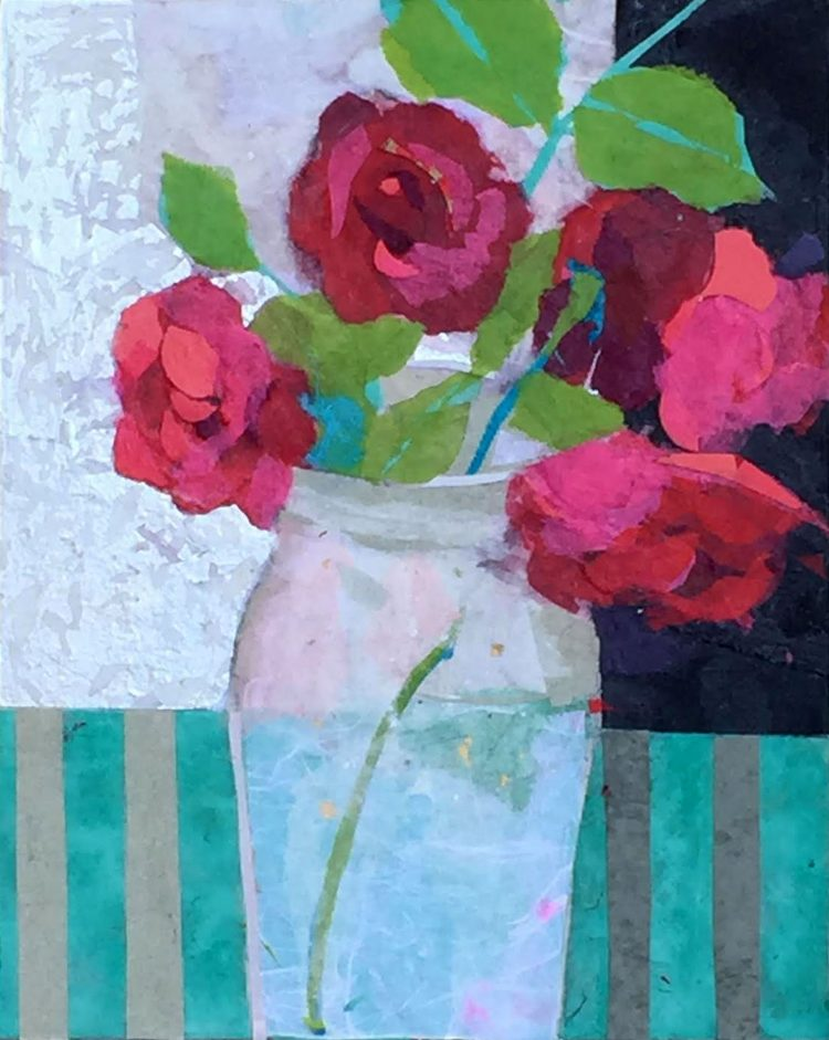 collage of red flowers in a vase