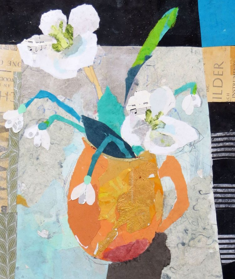collage of white flowers in vase