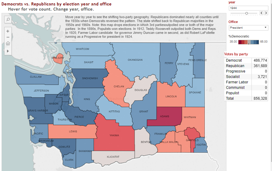 Republican Democratic State Map.Data Mapping Washington Labor Civil Rights History