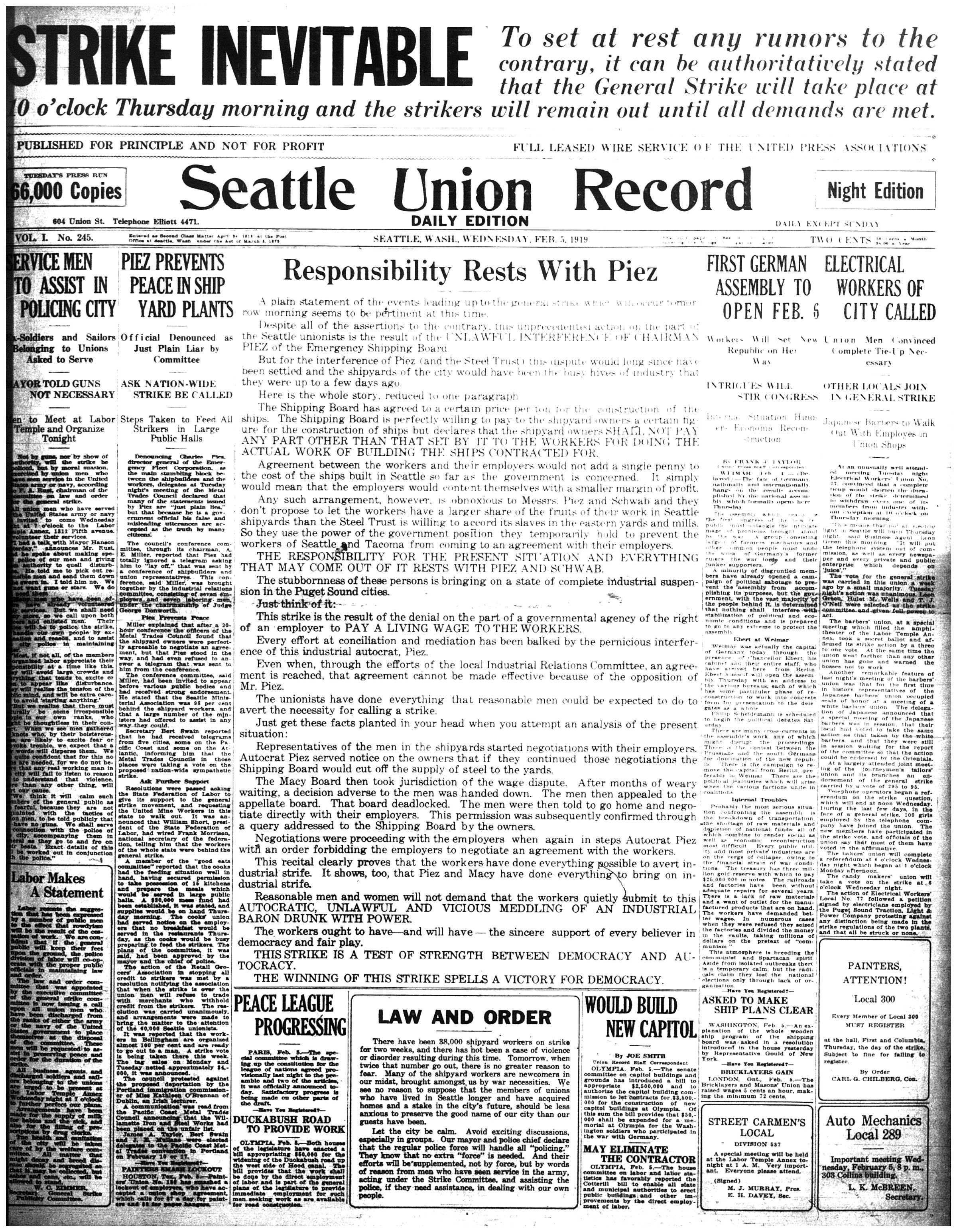 Seattle General Strike: News Coverage