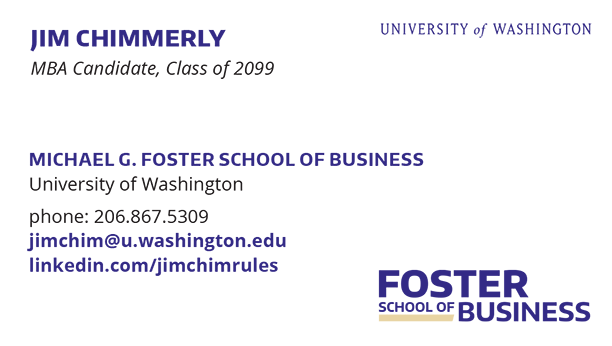 The Foster Mba Association Business Cards The Foster Mba Association