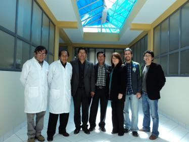 LARGE-PD researchers visit a new research building at the Universidad del Altiplano in Puno, Peru. From right: Mario Cornejo, first LARGE-PD visiting fellow, and now the director of the Neurogenetics Unit at the Instituto Nacional de Ciencias Neurolo