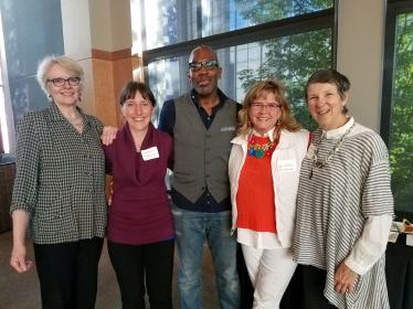 From left: Marilyn Raichle of the Art of Alzheimer's, Marigrace Becker of UW Memory and Brain Wellness Center, Chef Madison Cowan, Shawn D'Amelio of With a Little Help, Rebecca Crichton of Northwest Center for Creative Aging