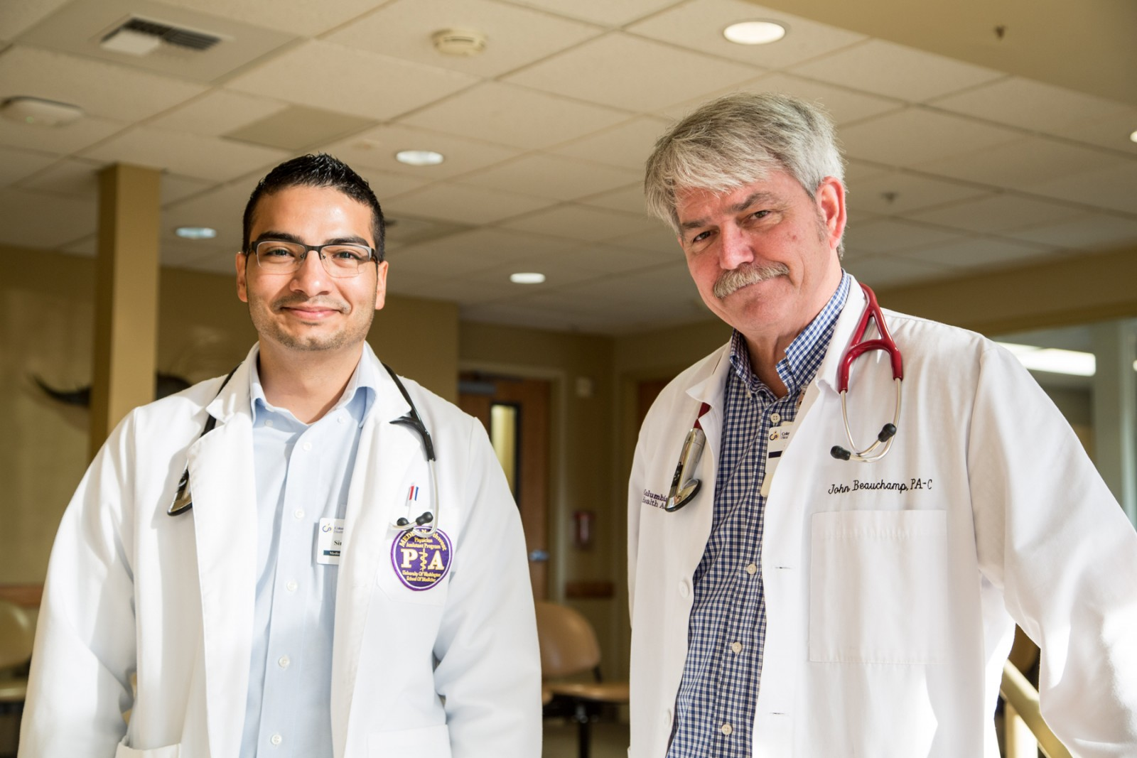Simon Mendoza is seen here during his family medicine preceptorship at Othello Family Clinic with John Beauchamp, PA-C.