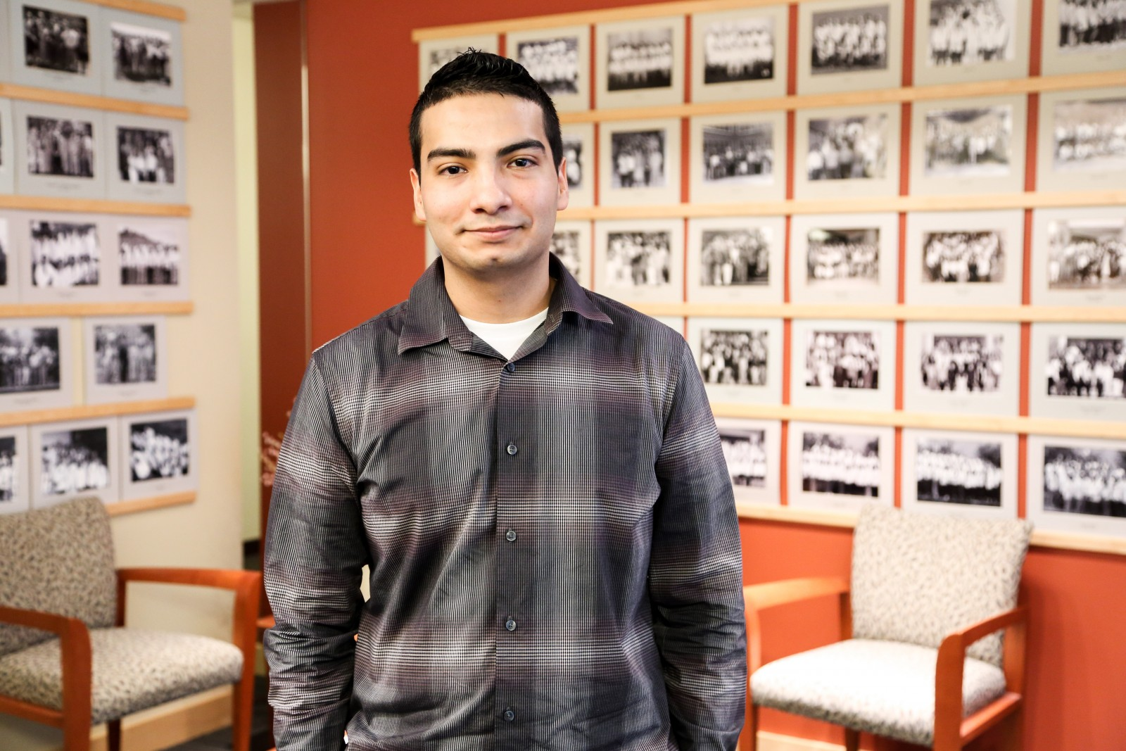 Photo of Simon Mendoza at the offices of MEDEX Northwest in Seattle.