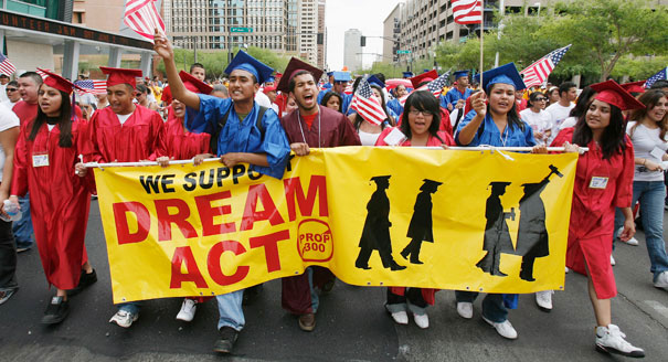Marchers in support of the Dream Act.