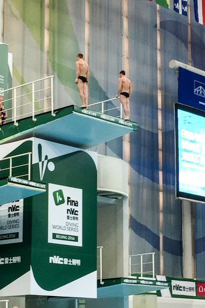 David Boudia and Steel Johnson on the 10-metre platform in Beijing. David is the 2012 Olympic Gold Medalist on individual 10-meter platform.