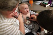 Baby getting its heart checked