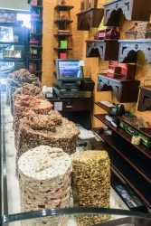 Pillars of nougat with nuts for sale in the Souk Madinat Jumeriah market.