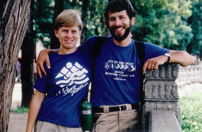 Linda Vorvick and Steve Brown in China on a 11-month travel break after her residency in 1985.