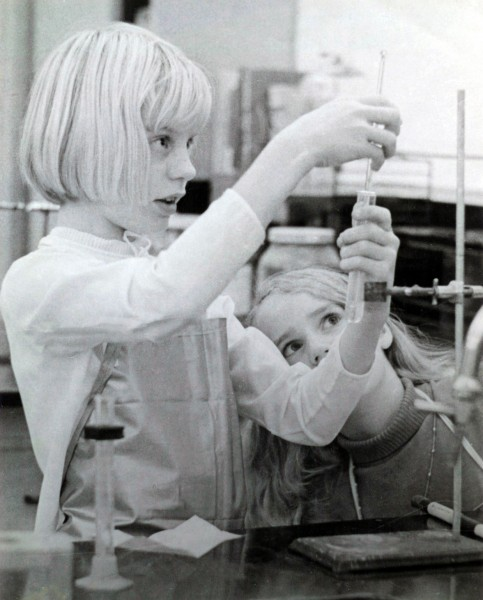 Linda and Mary Kay in seventh grade science class- the only 2 girls of 32 students