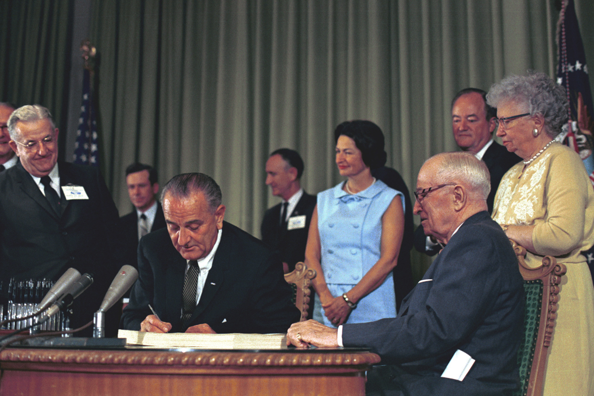 President Lyndon Baines Johnson signed the Medicare bill into law on July 30, 1965. Desegregation of all hospitals was a required component of the Medicare implementation.